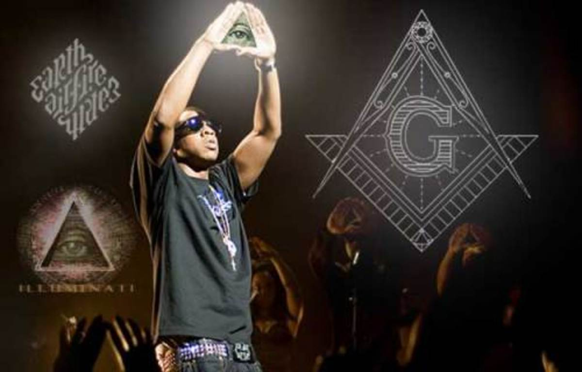 Rapper JayZ makes a Masonic Illuminati pyramid sign during a live performance. Inset, the Mason's symbol