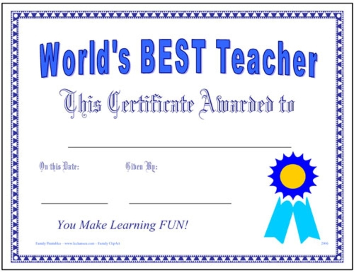 Great teacher award certificate, printable