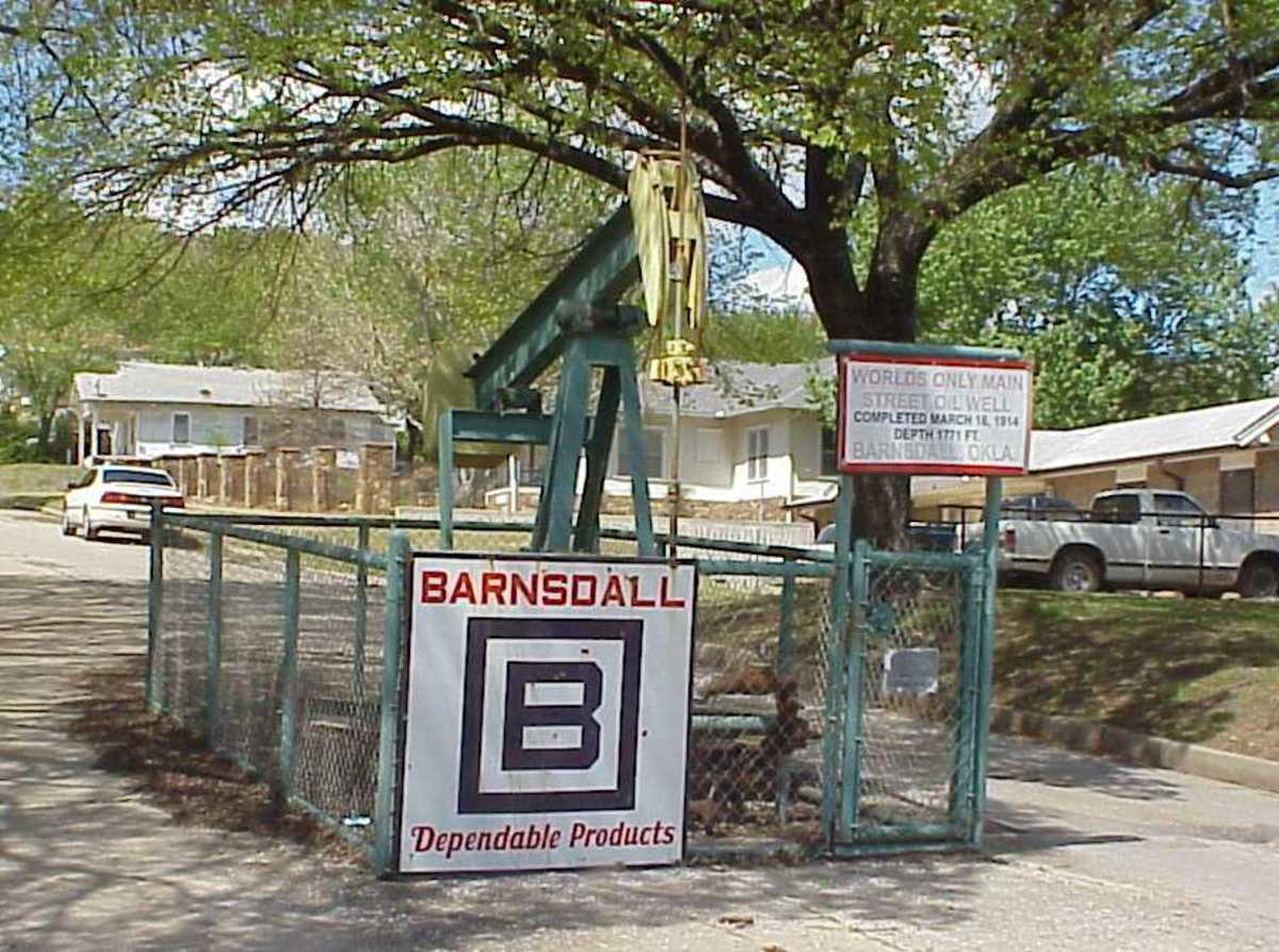 Oil Well on Mainstreet located in Barnsdall, Oklahoma
