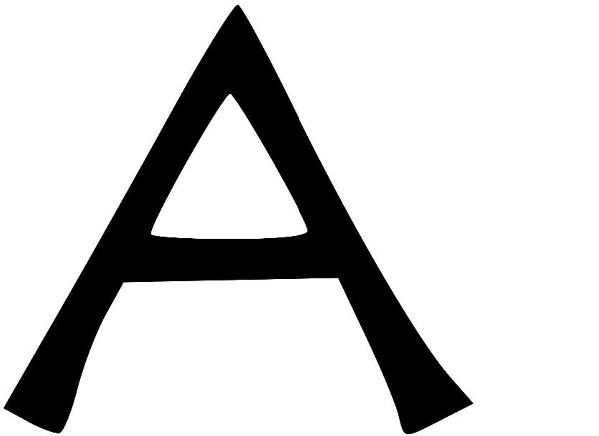 Image Credit: Wikipedia The Roman A is borrowed from Greek Alpha which was borrowed from Phoenician Aleph
