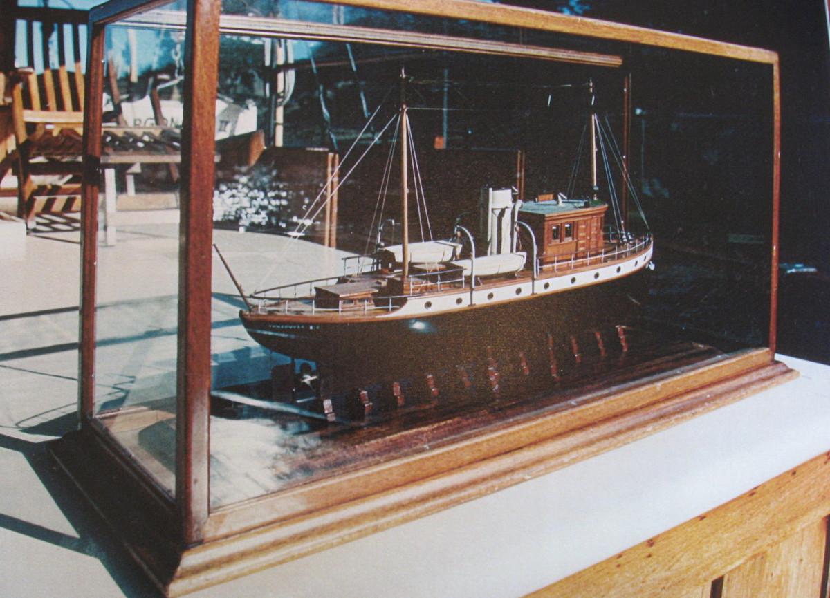 This original model of the Greta M is photographed aboard the Argonaut II. The model has now been donated to Maritime Museum in Victoria, BC by Julian Matson(a previous owner)