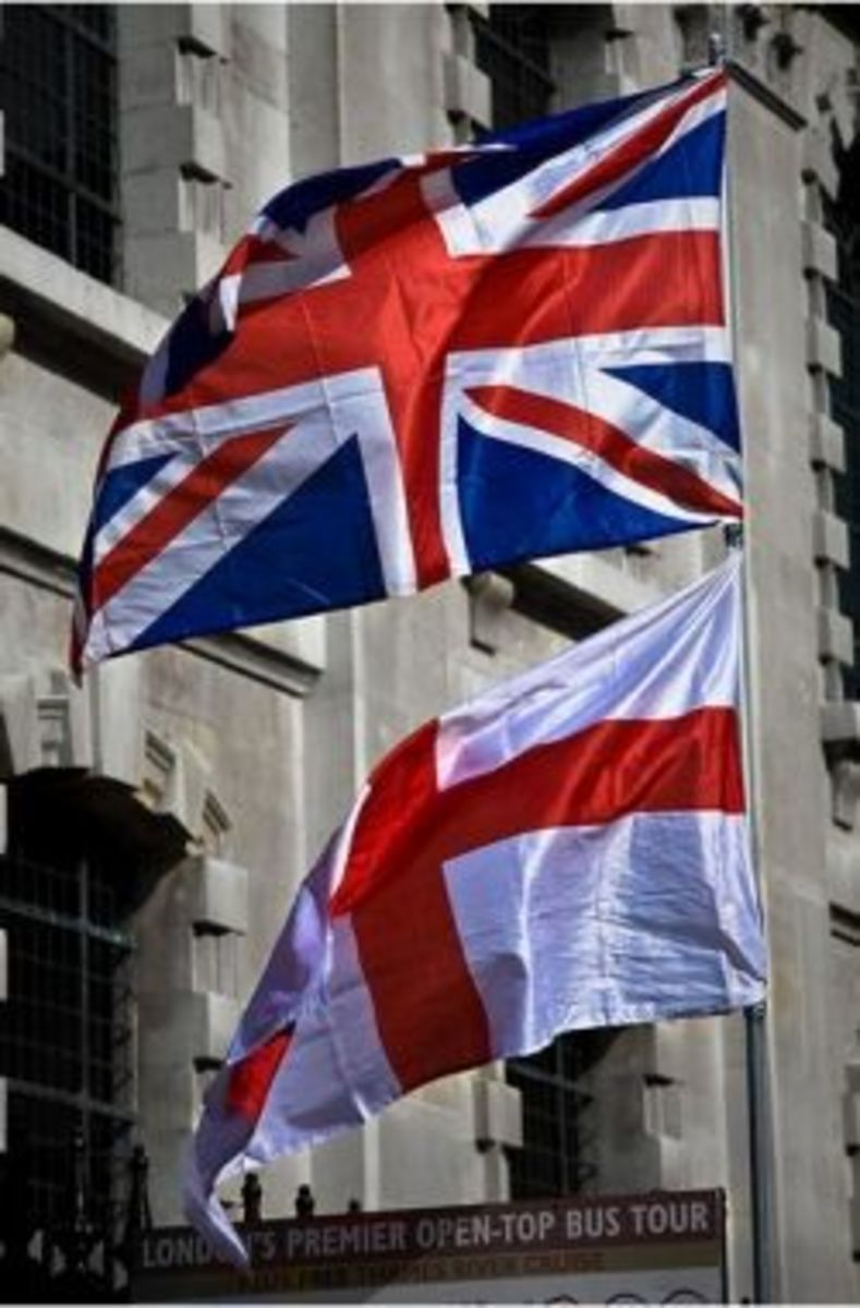The Union Flag and the flag of England - the Union Flag (Union Jack) incorprates the Cross of St George to represent England and Wales