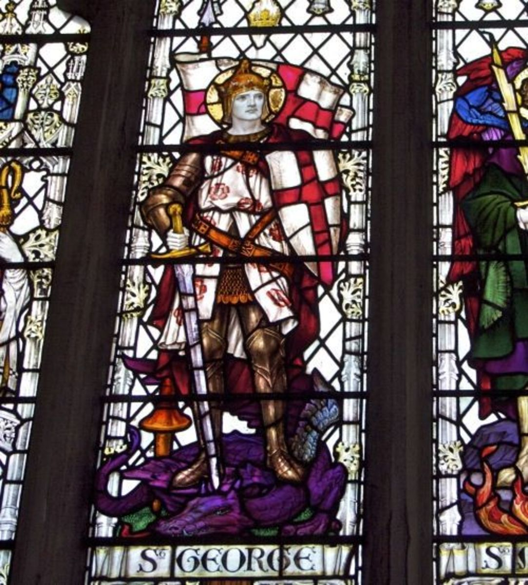 St George, the Patron Saint of England - stained glass at a church in Salisbury, England showing detail of St George