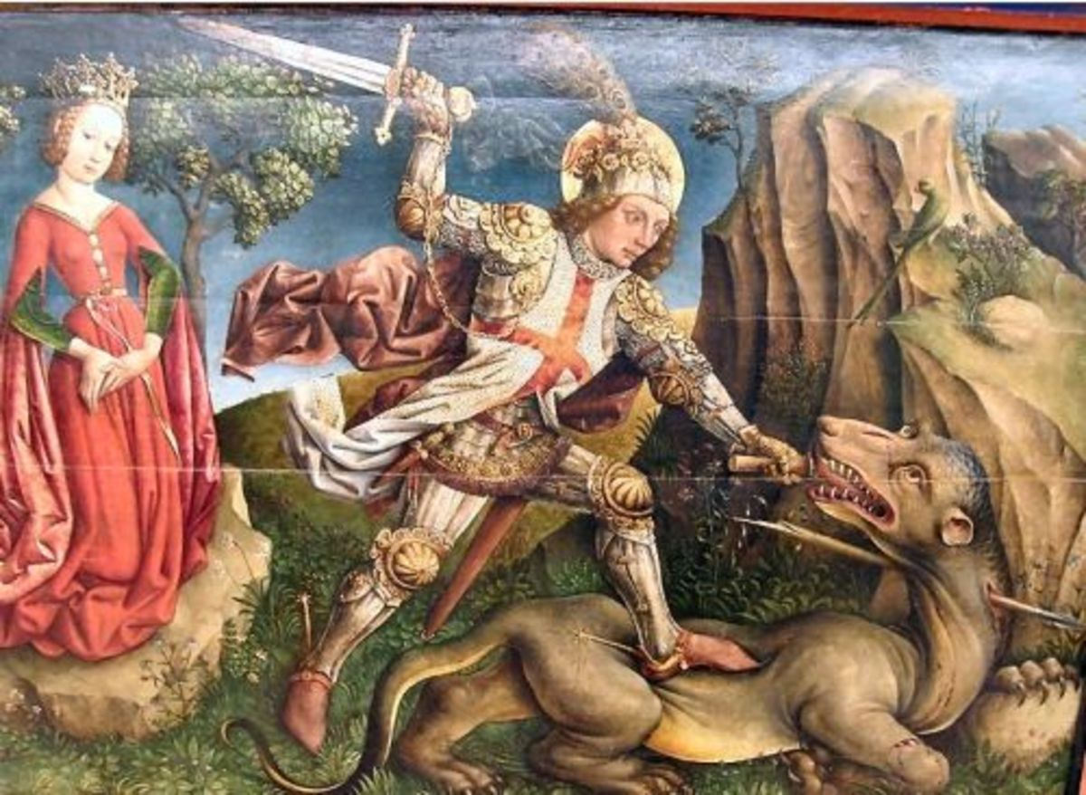 """Saint George Slaying the Dragon"" by Jost Haller(c. 1410-1485?), Unterlinden Museum, Colmar, France"