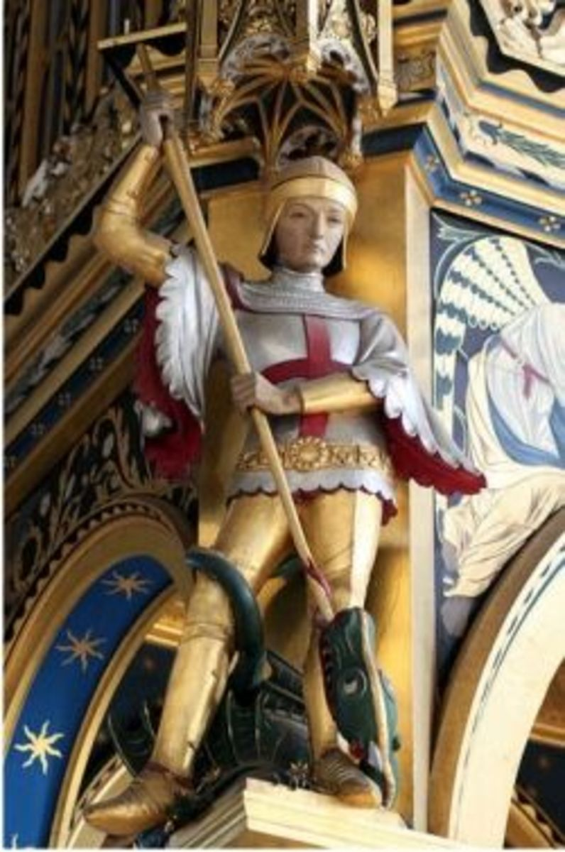 St George, patron of England, on the rood screen at St Mary the Virgin, Wellingborough