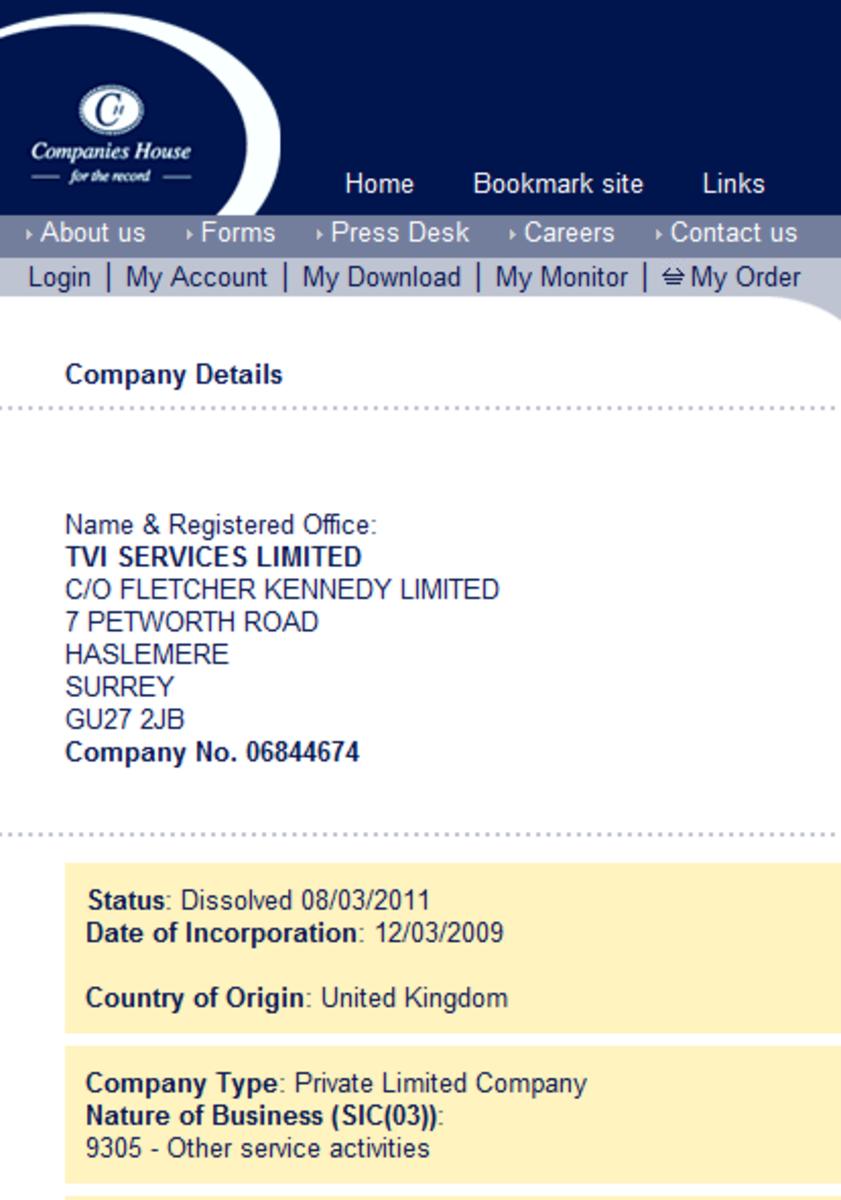 TVI Services was dissolved 08-MAR-2011
