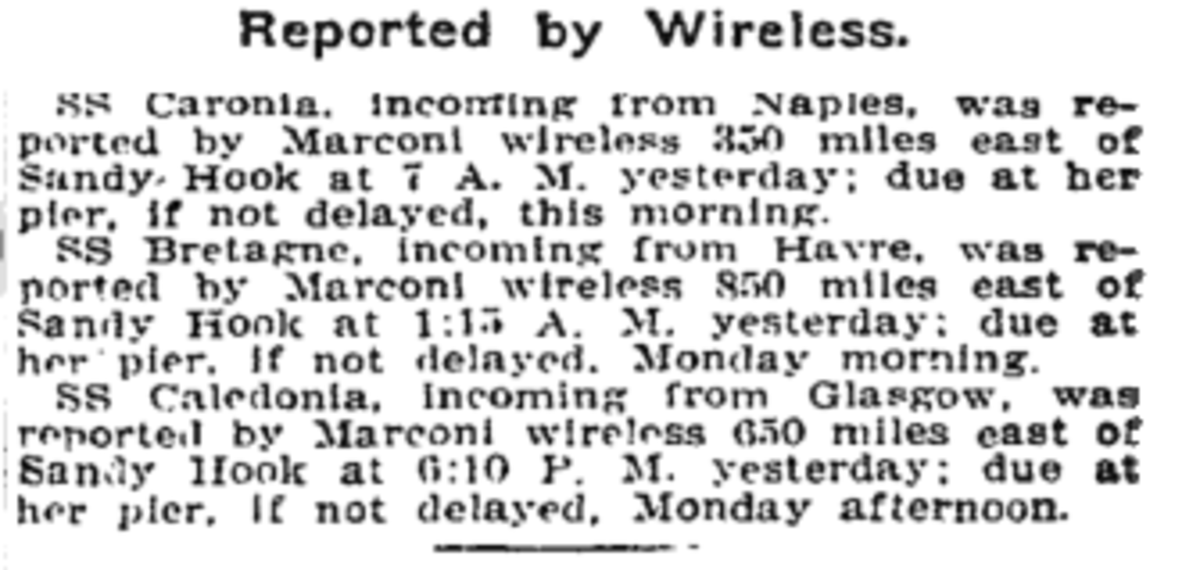 S.S. Caronia's arrival notice in the New York Times, January 2, 1910