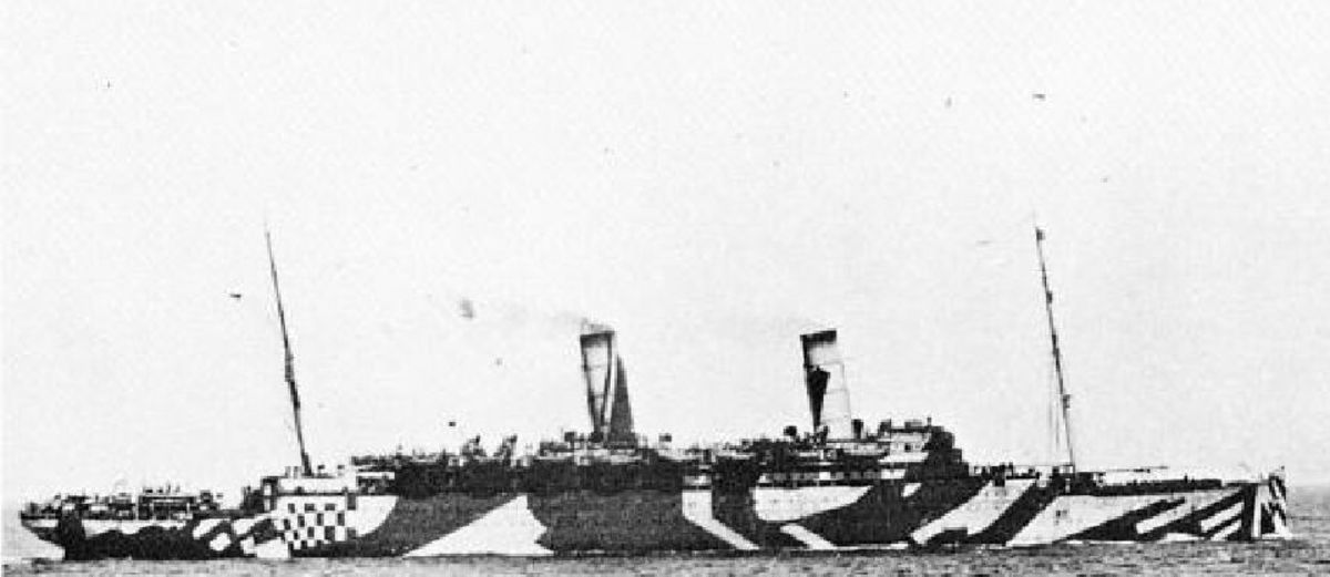 "HMS Caronia - Converted into a gunship and seen her in her ""Dazzle"" paint."