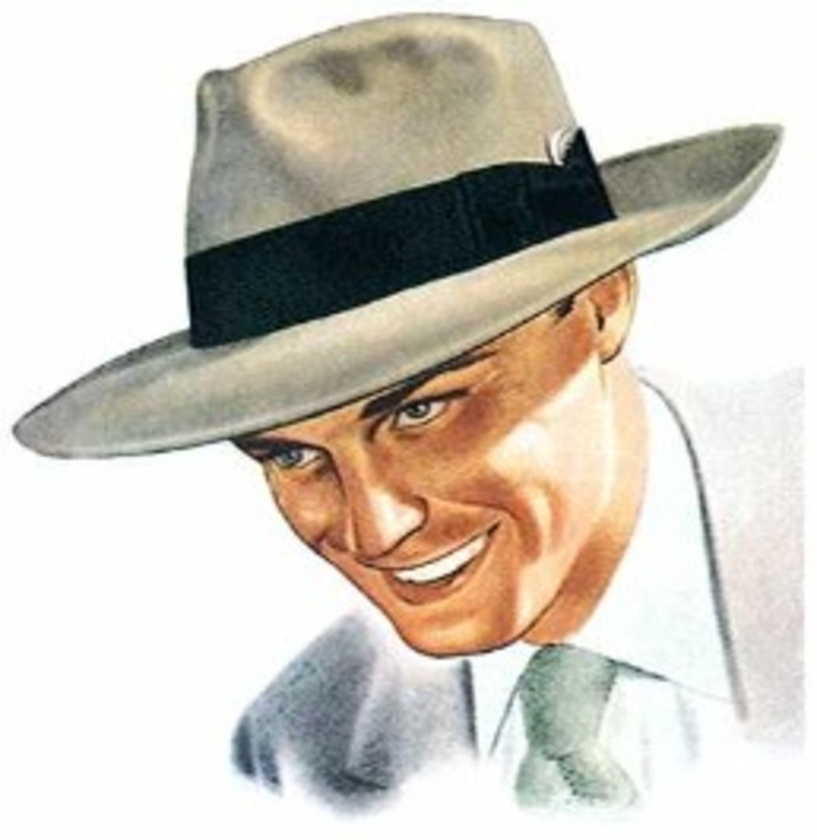 Typical young man in a fedora - on his way up the postwar ladder of success.