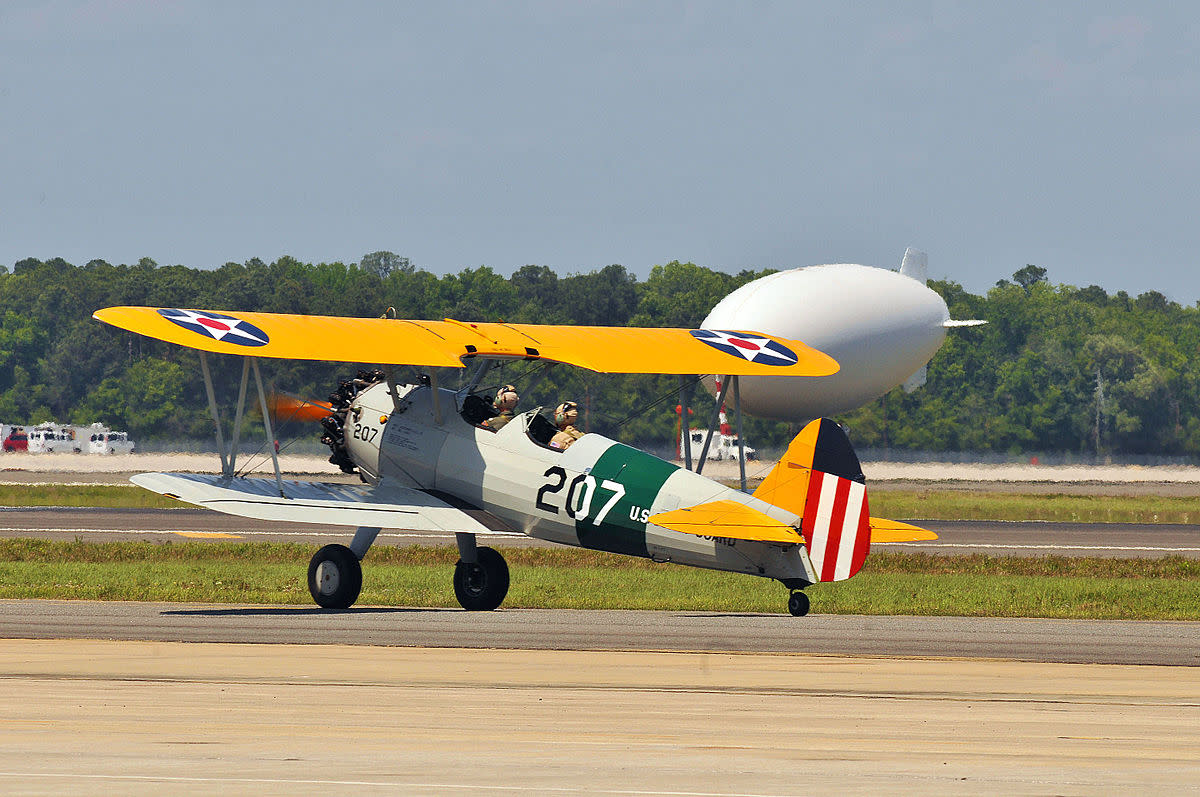 Vintage WWII bi-plane at the Centennial of Naval Aviation celebration.