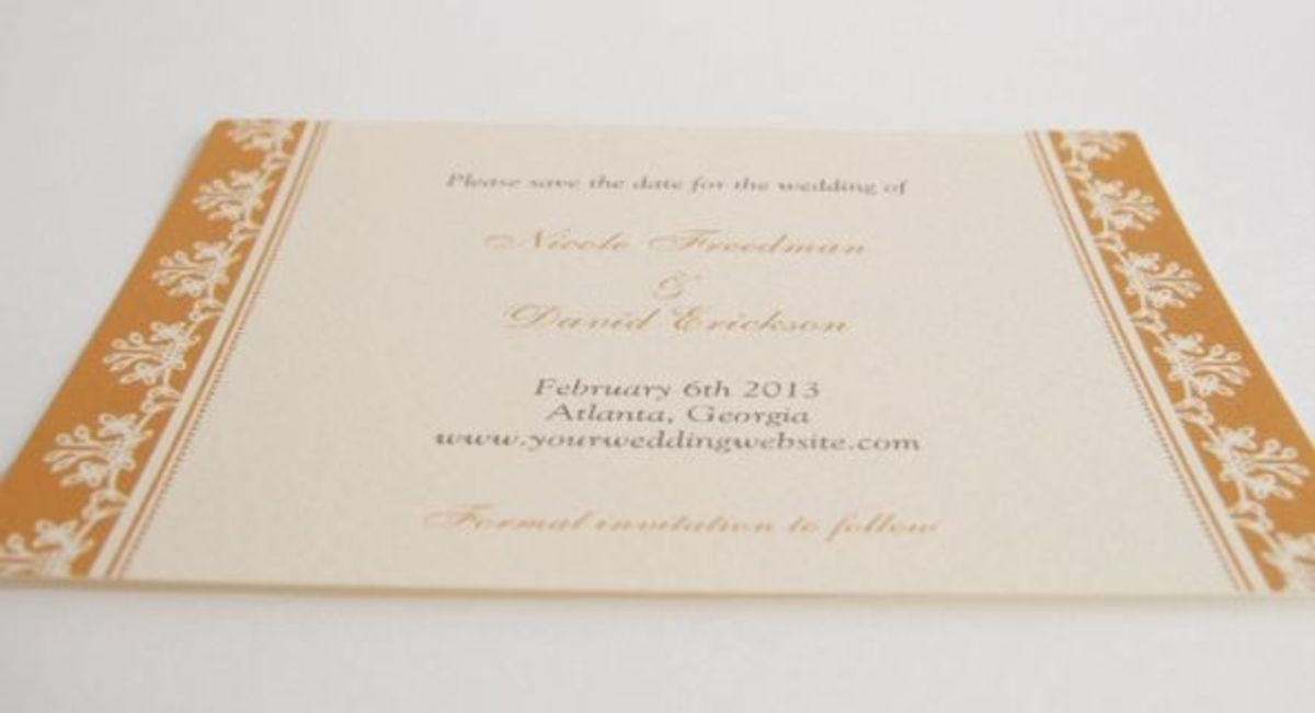 Elegant save the date cards printed on Zazzle cream color Felt paper