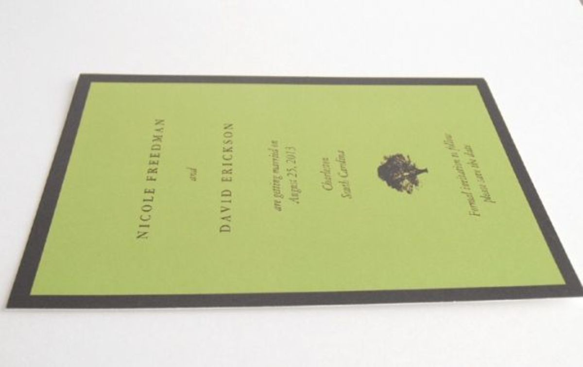 An oak tree design save the date card with full ink coverage printed on zazzle Recycle paper.