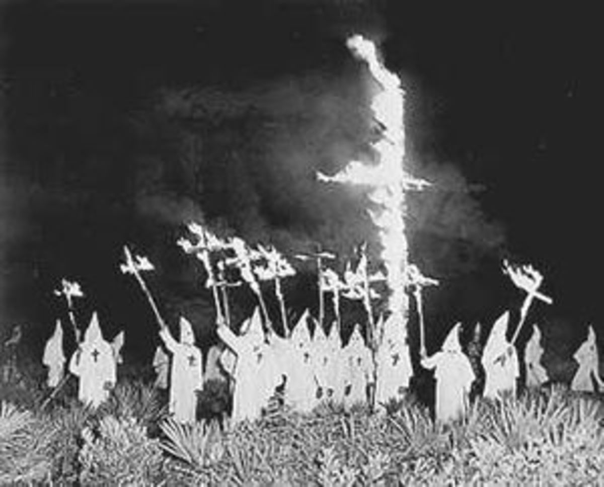 The KKK was often associated with white sheets and cross burnings