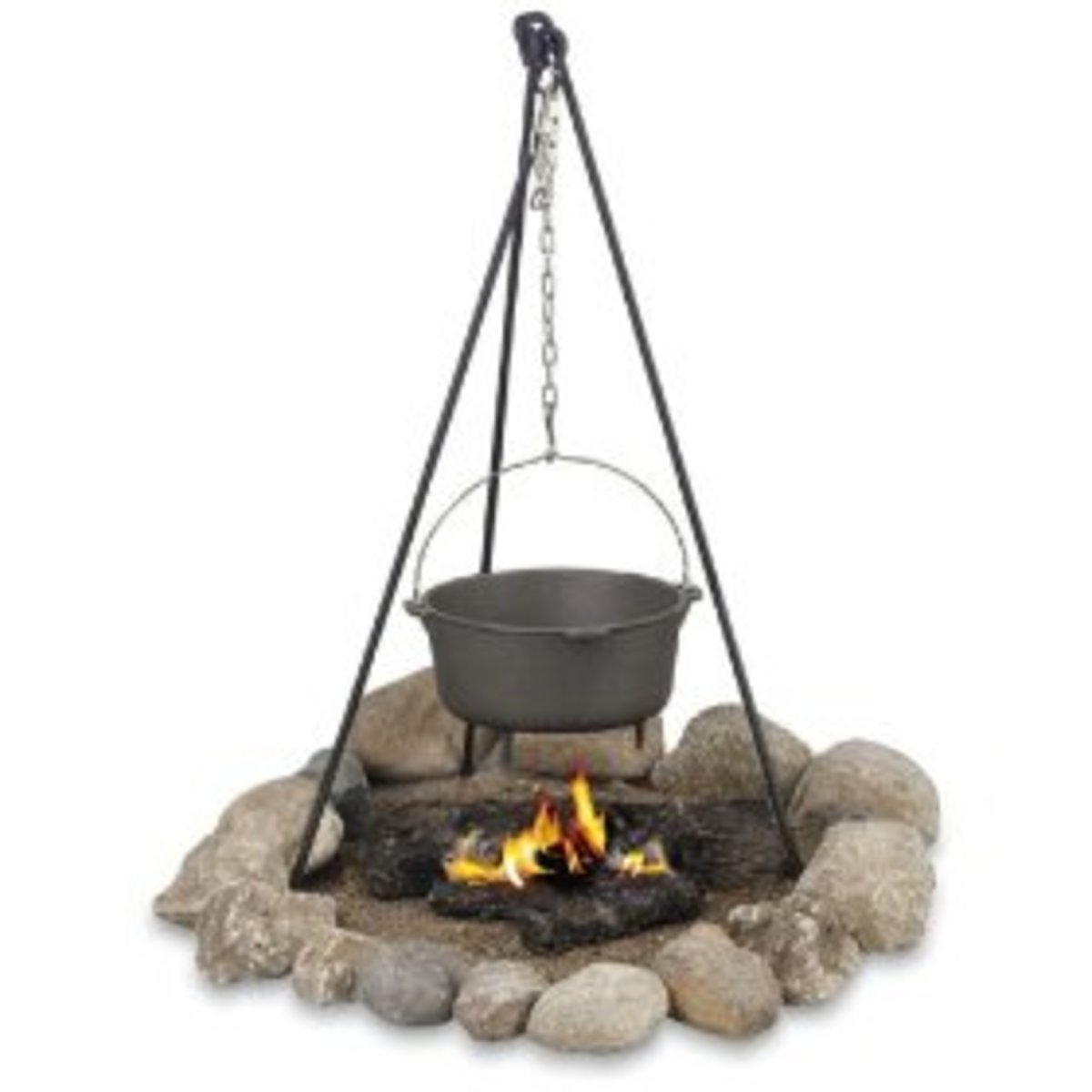 campfire cooking with a campfire tripod and a cast iron Dutch oven