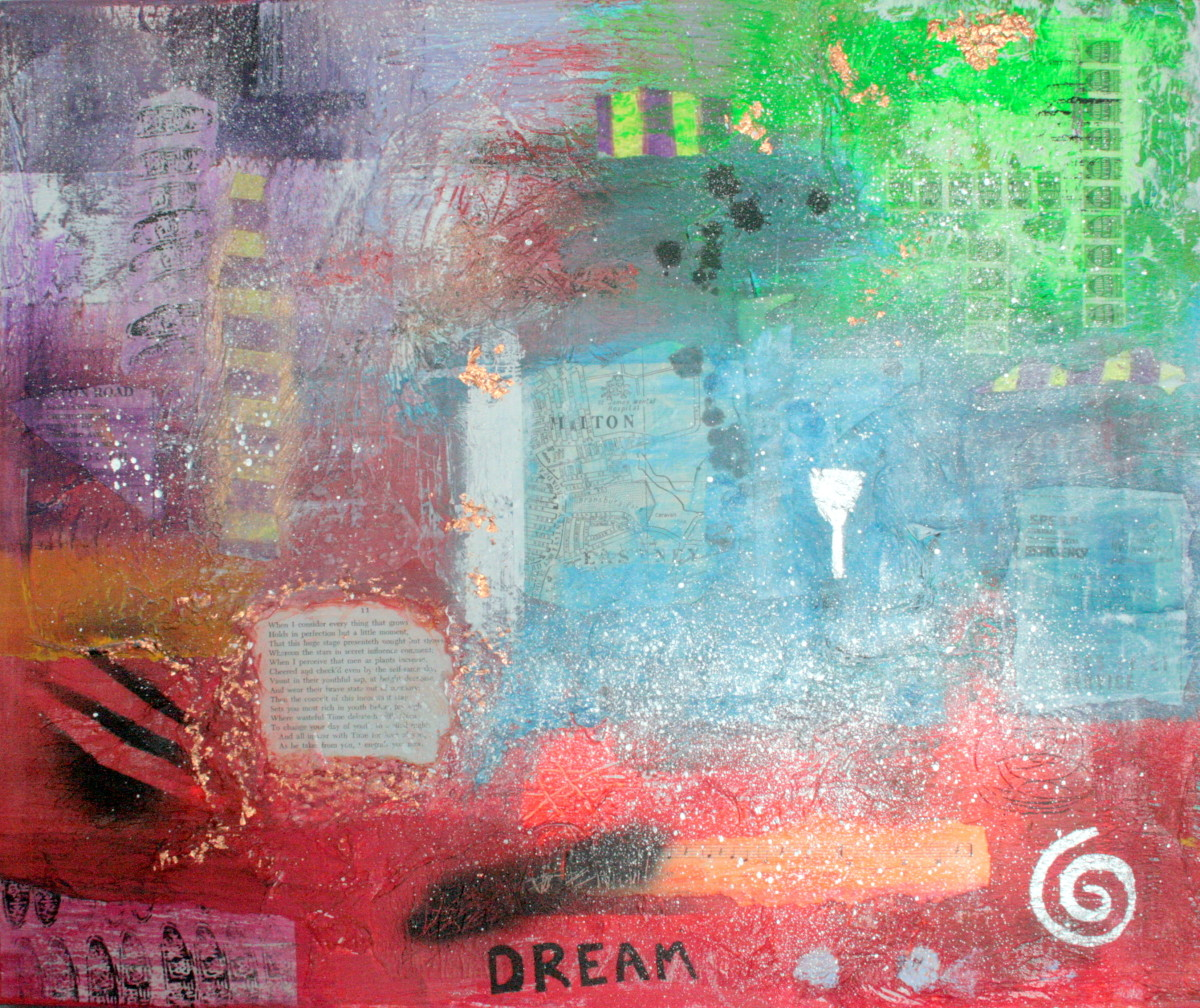 This painting (sold) incorporates a number of mixed media items.
