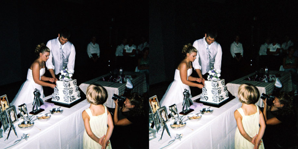 My brother took this picture of my wife and I cutting our cake.  Cross your eyes and you will feel like you were there. (click for larger) Photo by Darin Flannery