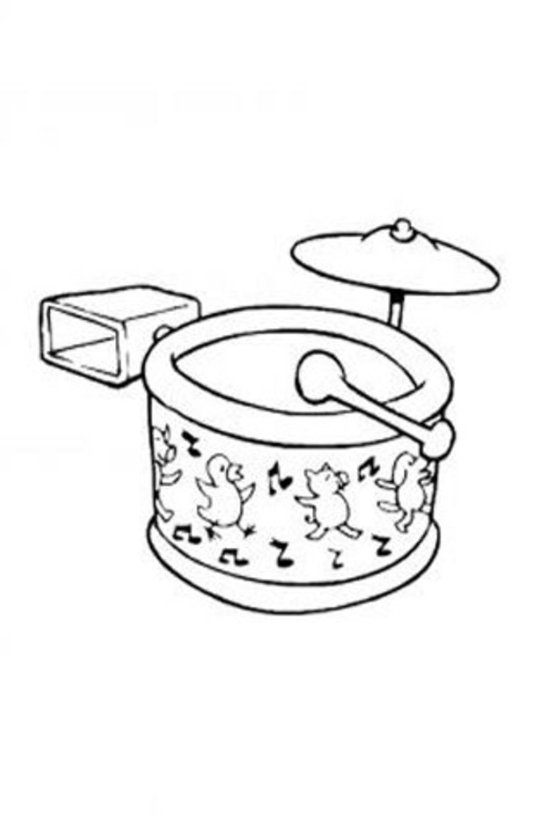 Musical Instruments Kids Coloring Pages and Free Colouring Pictures to Print - Drums