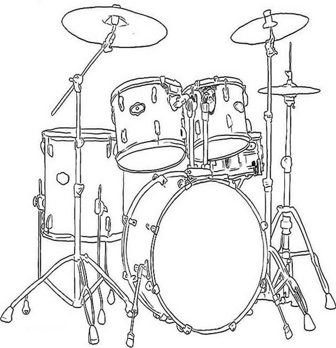 Musical Instruments Kids Coloring Pages Free Colouring Pictures to Print - Drums Set