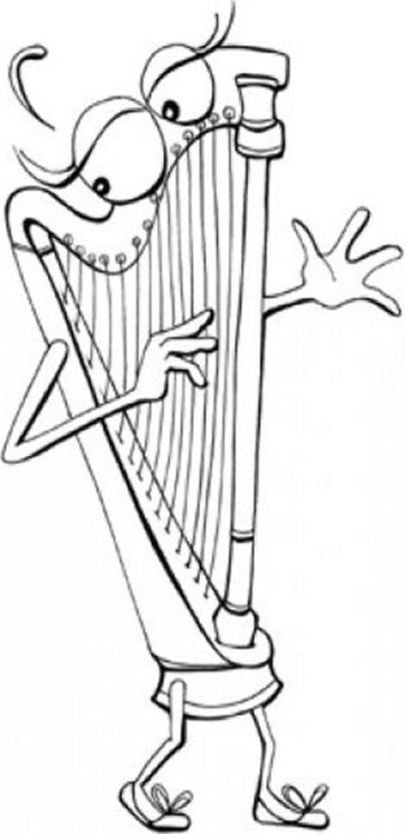 Musical Instruments Kids Coloring Pages Free Colouring Pictures to Print - Harp