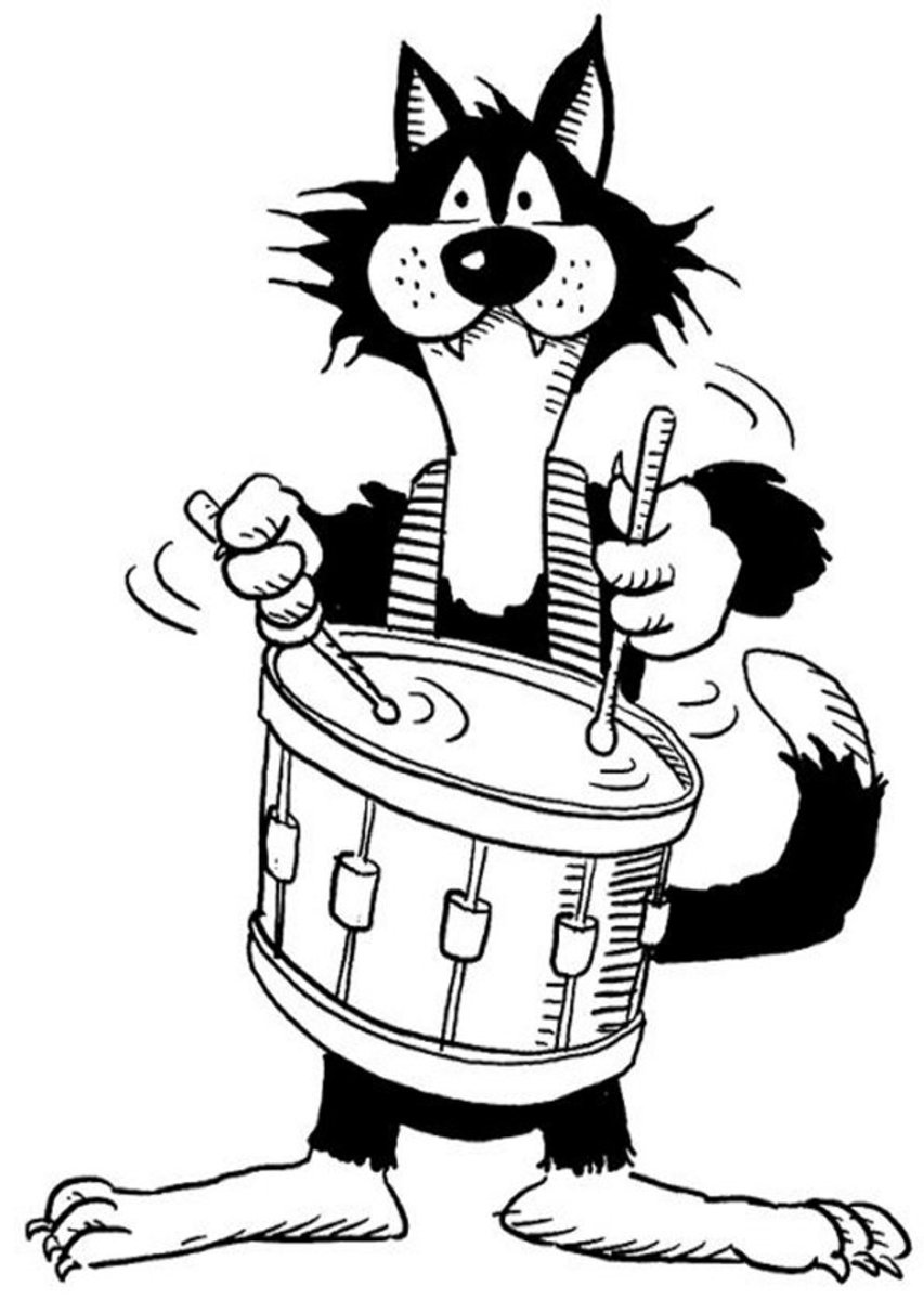 Musical Instruments Kids Coloring Pages and Free Colouring Pictures to Print - Snare Drum