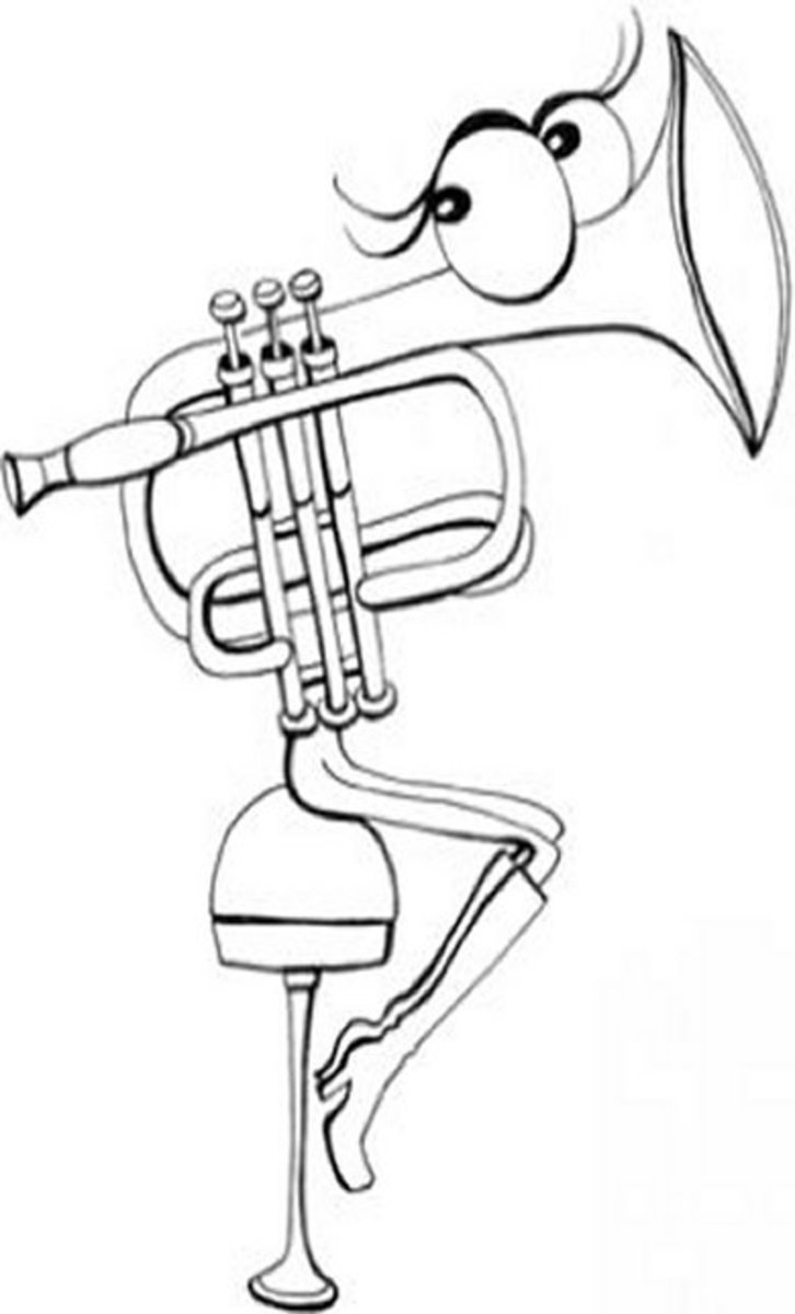 Musical Instruments Kids Coloring Pages Free Colouring Pictures to Print - Brass Instruments