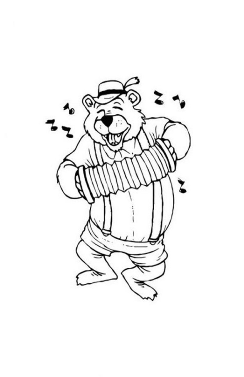 Musical Instruments Kids Coloring Pages and Free Colouring Pictures to Print - Concertina
