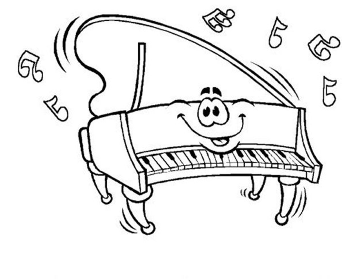 Musical Instruments Kids Coloring Pages and Free Colouring Pictures to Print - Piano
