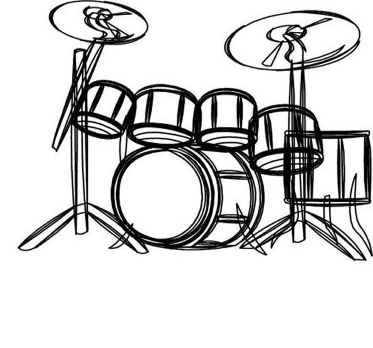 Musical Instruments Kids Coloring Pages and Free Colouring Pictures to Print - Drum Set