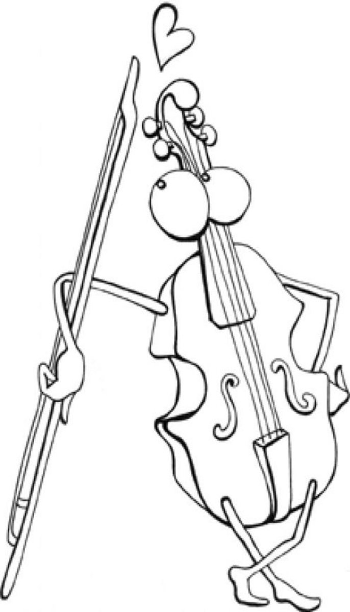 Musical Instruments Kids Coloring Pages and Free Colouring Pictures to Print - Viola