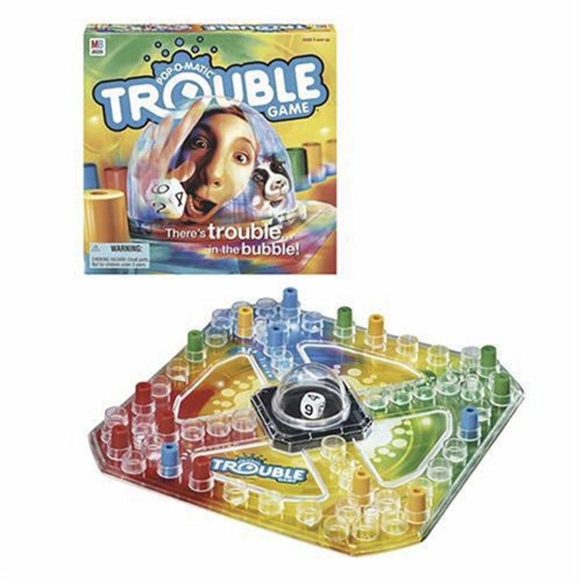 "The Trouble game board features a ""Pop-o-matic"" bubble encasing a single die, and 16 game pegs in 4 colors."