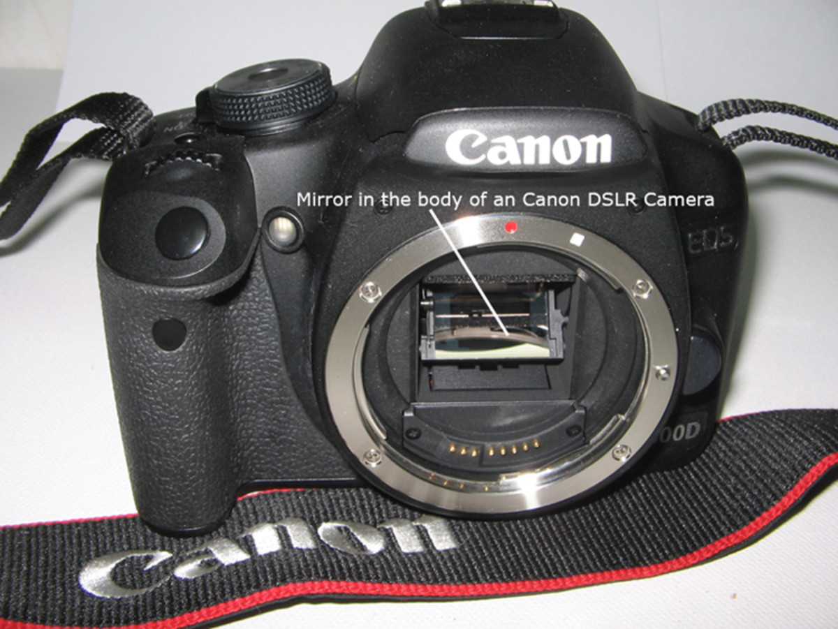 Canon EOS DSLR Camera body indicating where the mirror is located!