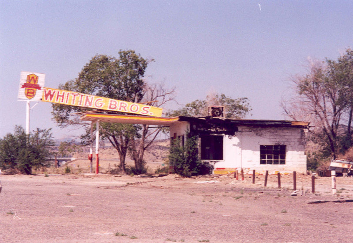 The Whiting Bros. gas station in New Mexico is one of hundreds of abandoned buildings in ghost towns throughout the state.