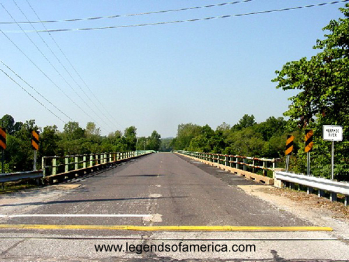 The old Route 66 bridge that crossed the Meramec River is still there today in the State Park.