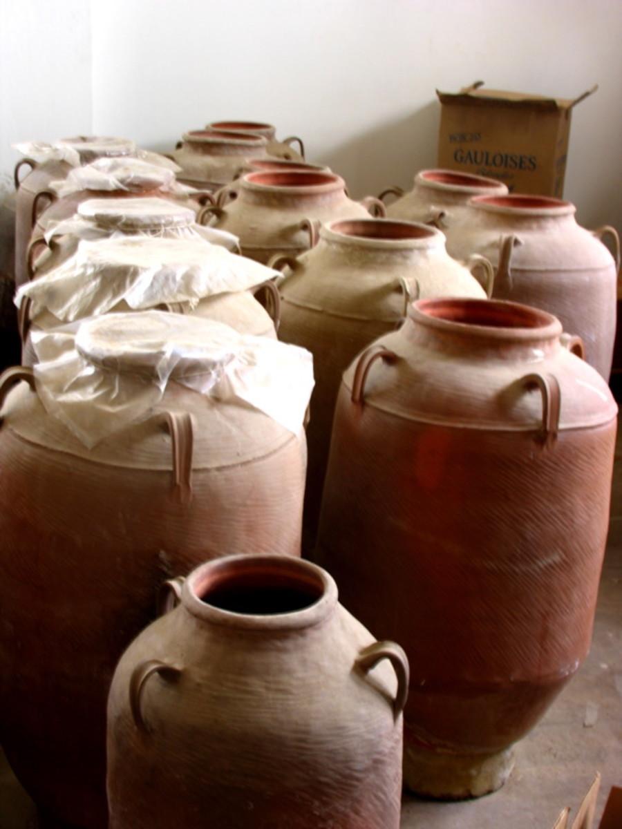 Arak stored in clay jars