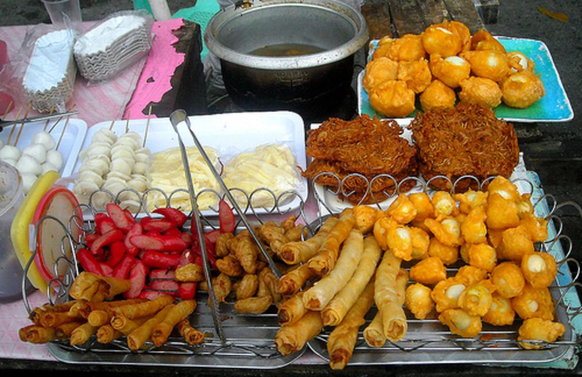 lumpia (spring roll), sliced hotdog and fish balls