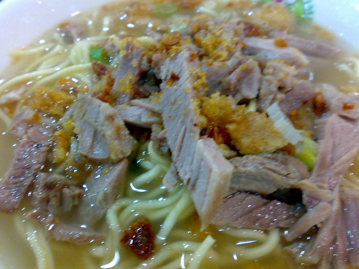 batchoy noodles - La Paz  -- made from pork organs mixed with vegetables and broth