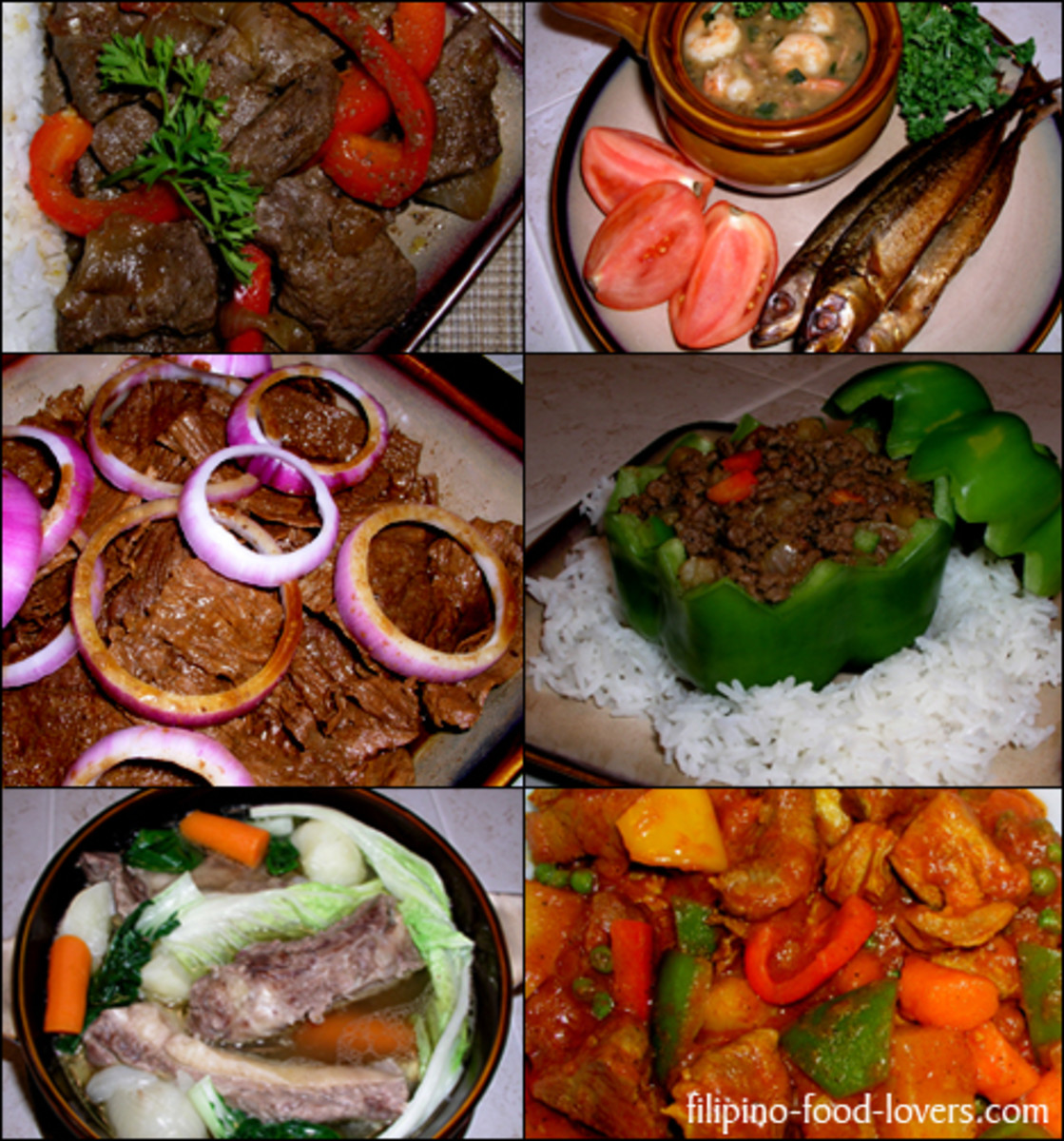 assorted menus for lunch or dinner -- filipinofoodlovers.com