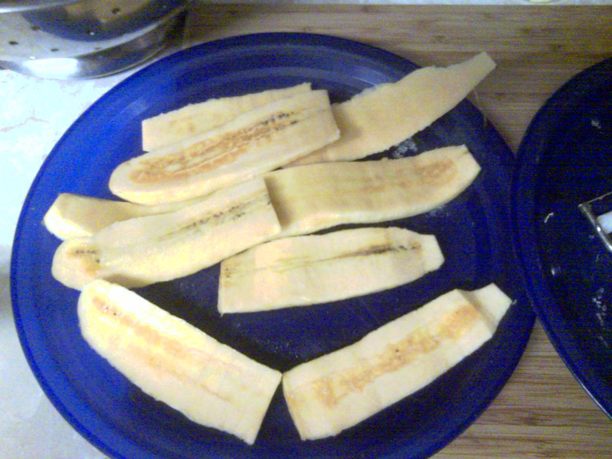 Sliced thinly you should be able to get three slices from each plantain.