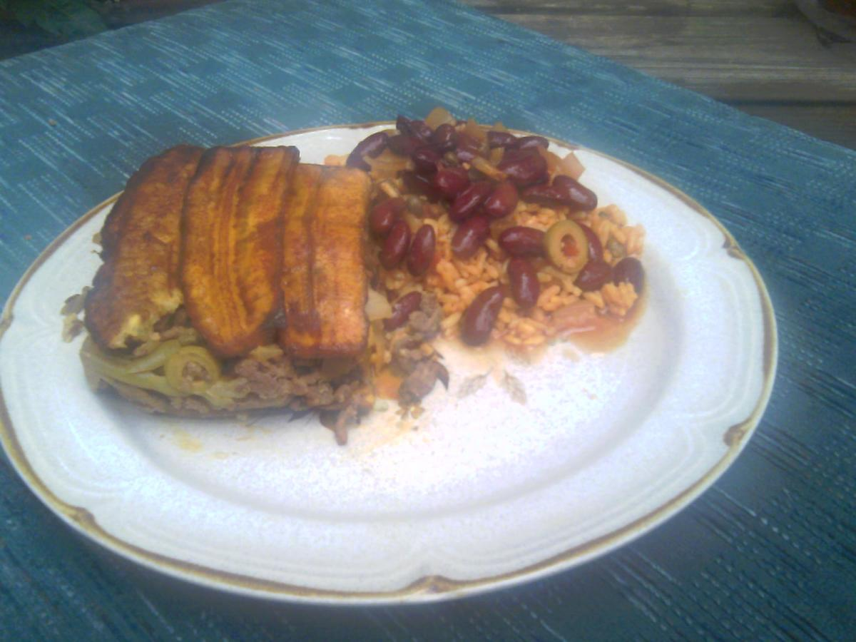 Plantain casserole with Puerto Rican rice & Beans.