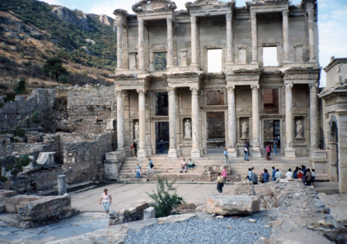 Reconstructed facade of the Library of Celcius at Ephesus, near Izmir, Turkey.  Personal Photo.