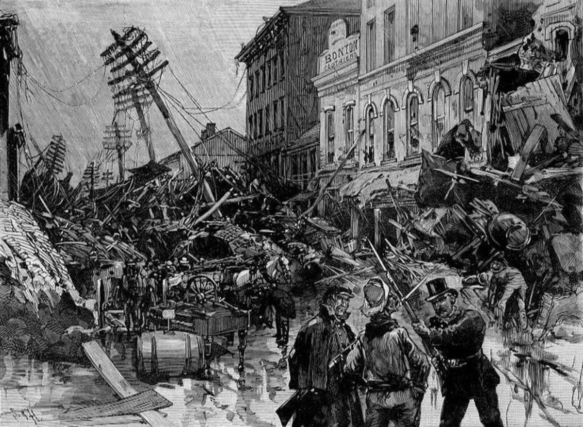 Destruction caused by The Johnstown Flood.