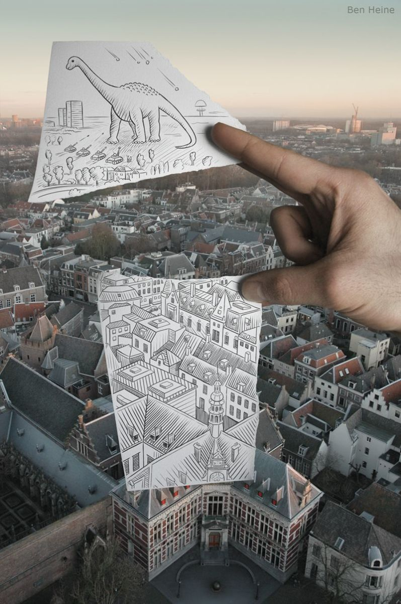 This style of drawing is so fun - you just use you imagination to recreate your own scene within a photograph.