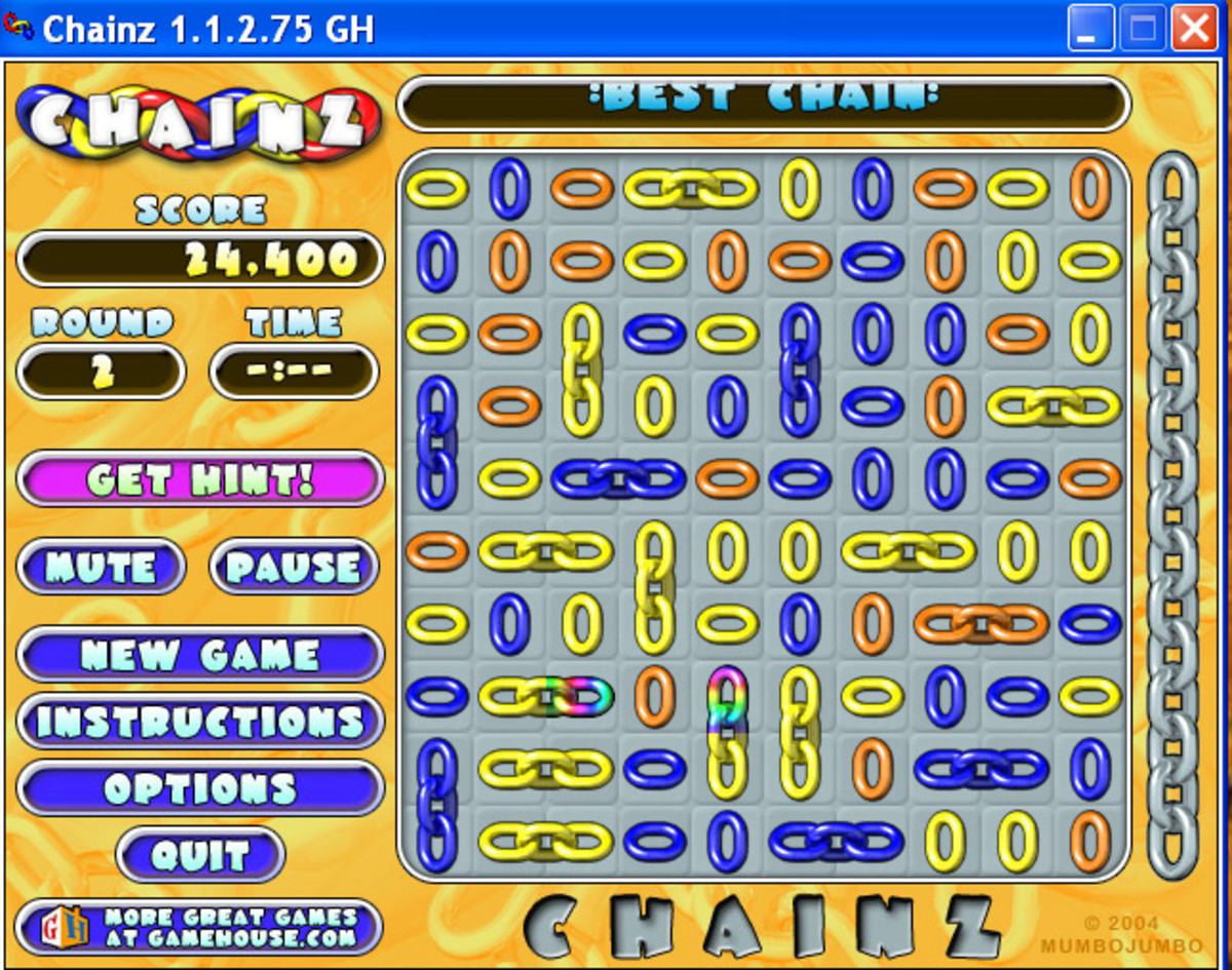 Level 2 screenshot--rainbow links appear