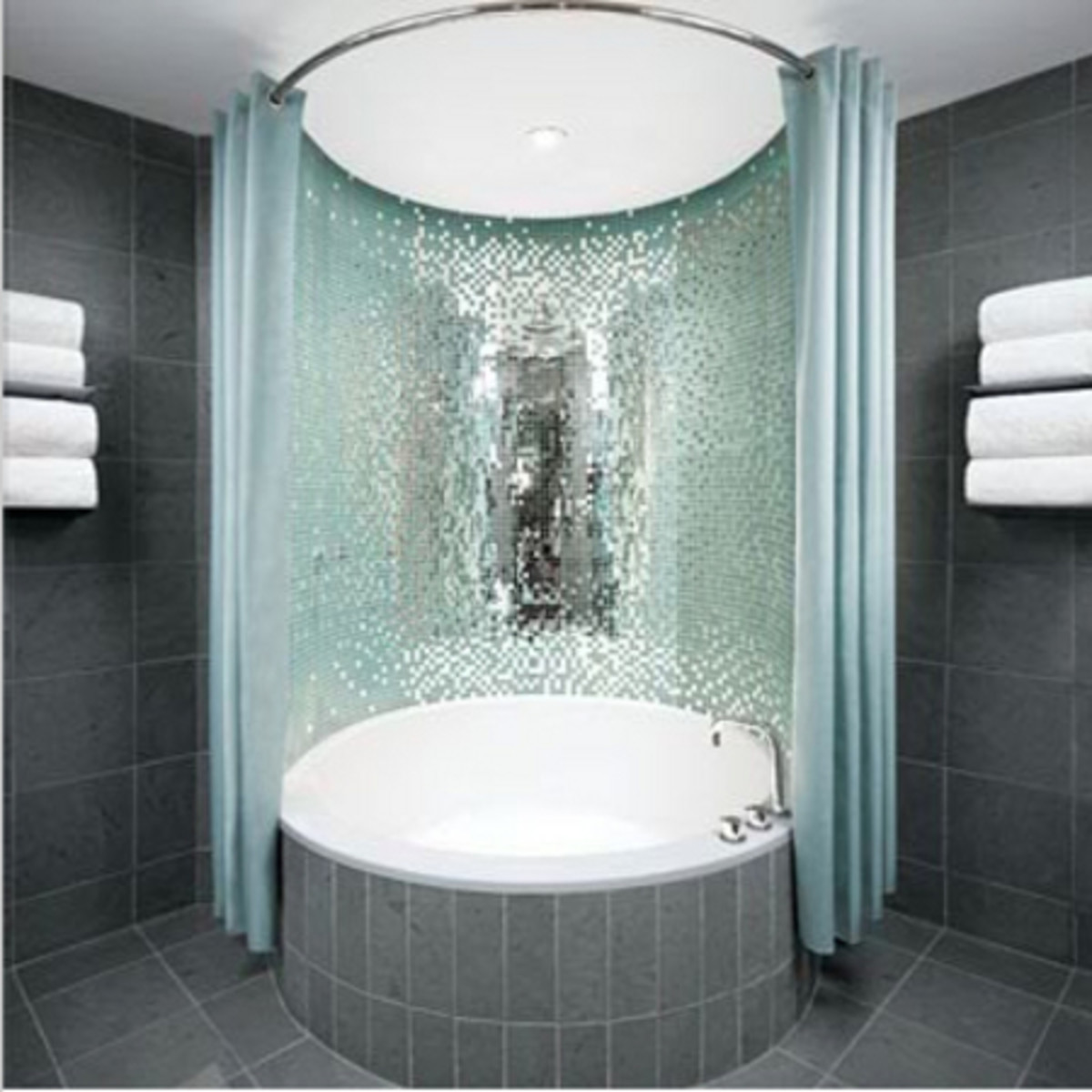 This is one example of a modern Roman style soaking tub.
