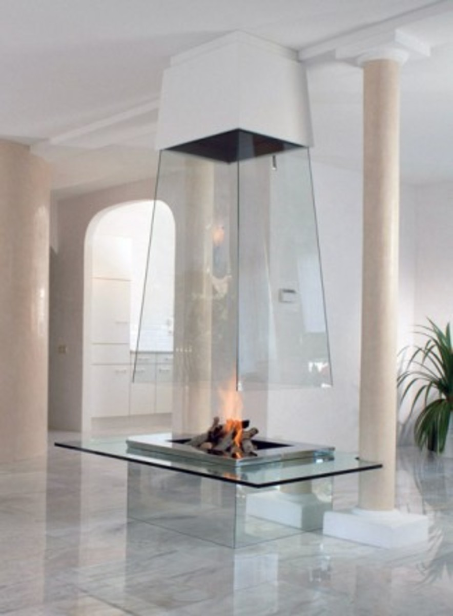 Extraordinary large glass modern fireplace