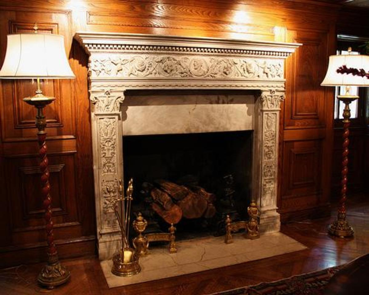 beautiful and ornate carved fireplace