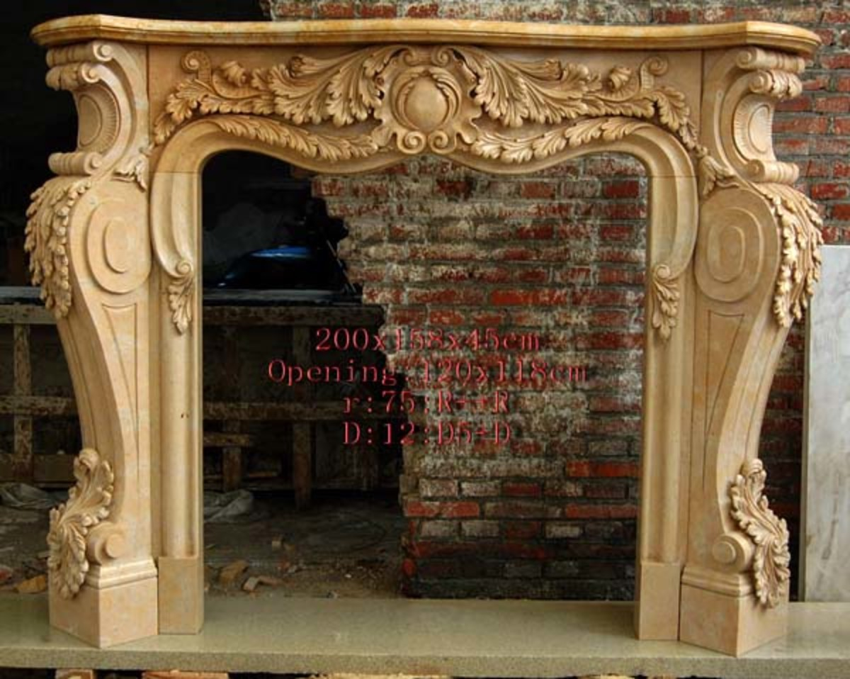 carved stone traditional fireplace