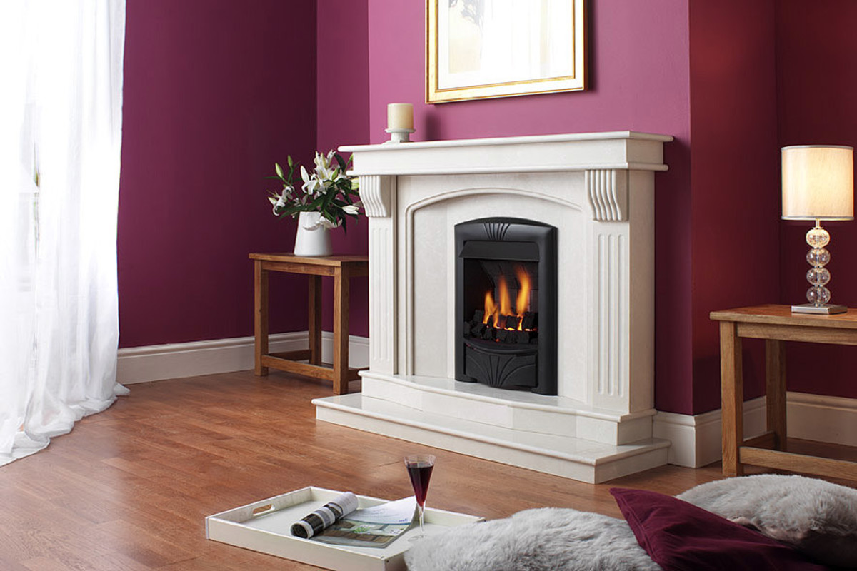 white fireplace with eggplant color walls