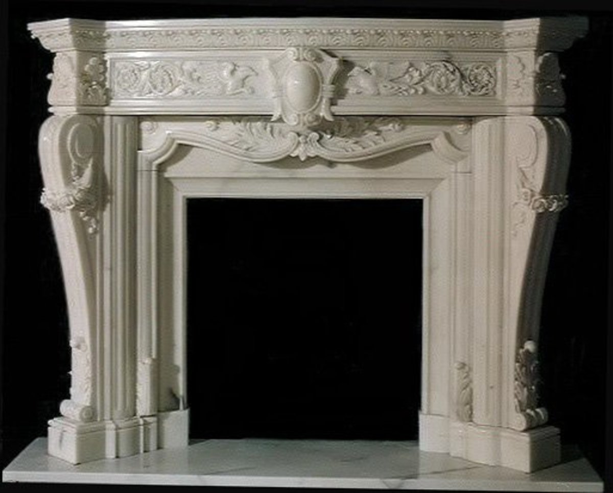 Exquisite white marble carved fireplace