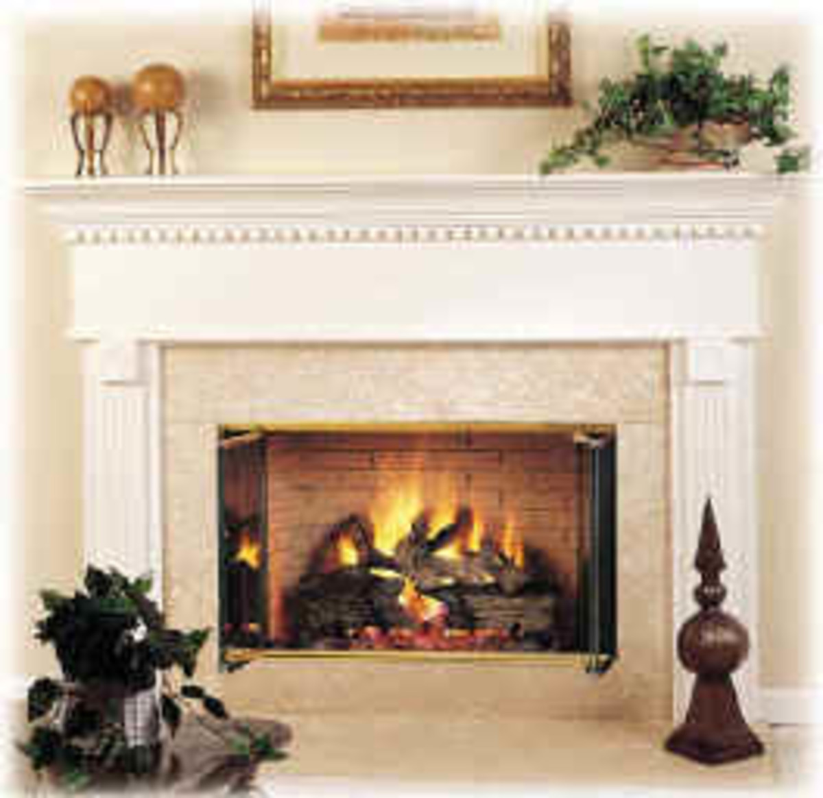beautiful home décor with traditional fireplace complete with all accessories